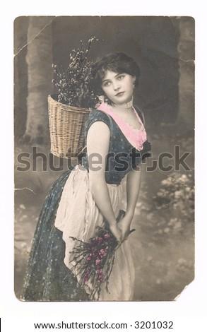 handpainted vintage  postcard - Easter greetings  1900 year