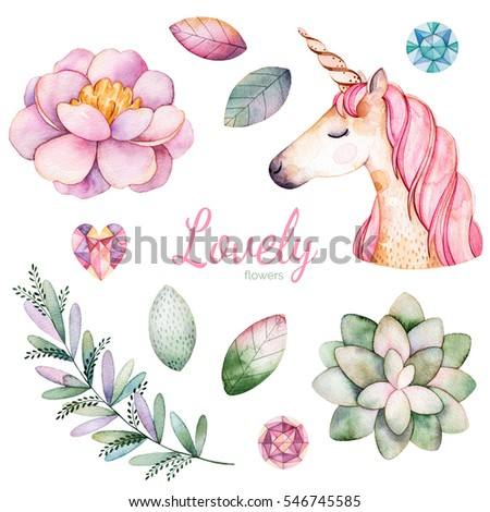 Handpainted watercolor flowers,leaves and cute unicorn.11 magic clipart of peony,succulent plant,leaves,branch,unicorn and gemstones.Can be used for your project,greeting cards,wedding,Birthday cards