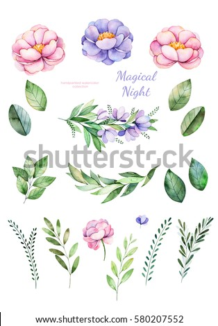 Handpainted watercolor flowers,leaves.Magical Night.19 lovely clipart of peony,foliage,leaves,branches and flowers.Can be used for your project,greeting cards,wedding,Birthday cards,bouquets,wreaths