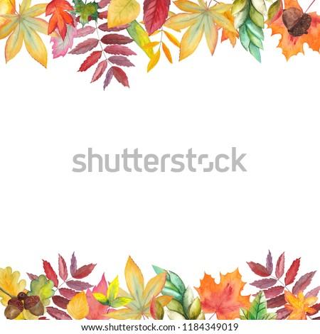 Handpainted watercolor frame of autumn leaves, berries, pumpkins, acorns on white background