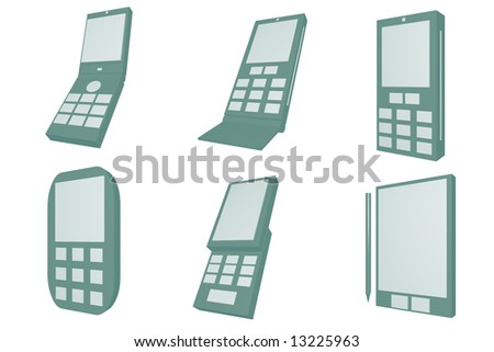 Handphone Designs Icons isolated on white background