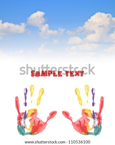 Handprint colored inks  blue sky