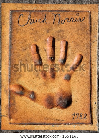 Handprint of Chuck Norris in front of the Cannes Main Film Festival Theatre, France