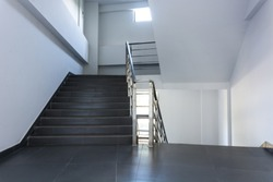 Handrail stairs in modern business office building