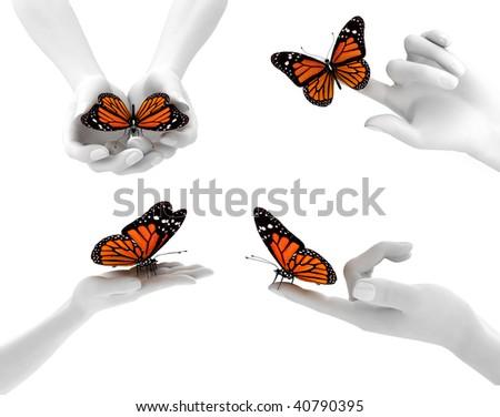 hands and butterflies
