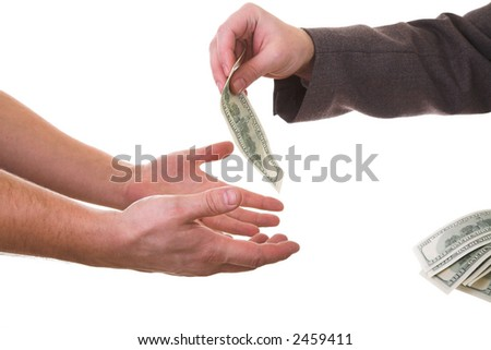 hands and dollars isolated on white background