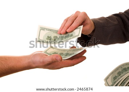 hands and dollars isolated on white background - stock photo