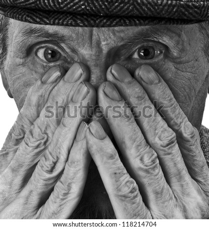 hands and eyes of the old man