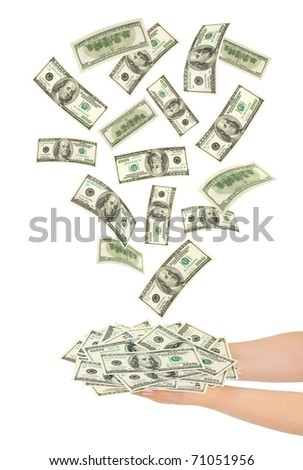 Hands and falling money isolated on white background