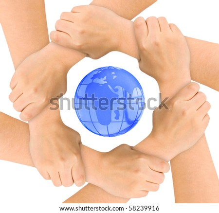 Hands and globe isolated on white background - stock photo