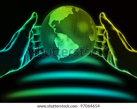 Hands and globe on black background. - stock photo