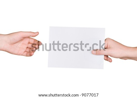 Hands and letter, isolated on white background
