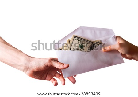 hands and money banknotes on white with clipping path