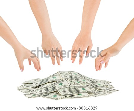 Hands and money heap isolated on white background