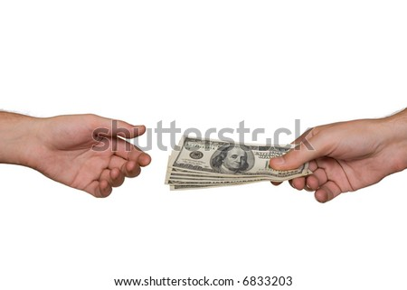Hands and money, isolated on white background