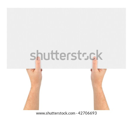 Hands and paper banner isolated on white background - stock photo