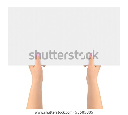 Hands and paper banner isolated on white background
