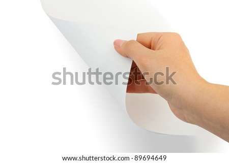 Hands and paper scroll isolated on white background