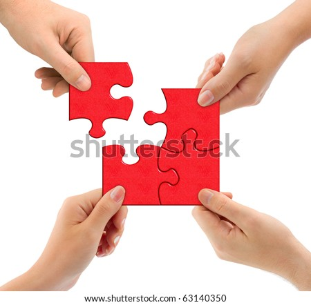 Hands and puzzle isolated on white background