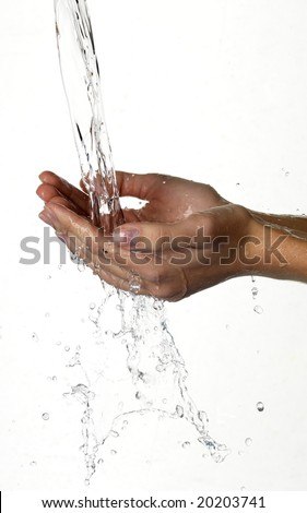 Hands and stream of water. On white background.