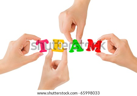 Hands and word Team - teamwork business concept