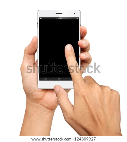 Hands are holding and point on A Big Screen Smart Phone on white background