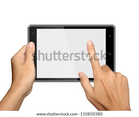 hands are holding and point on Tablet PC Isolated on white background #110850380