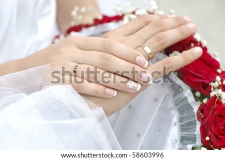 stock photo hands bride wedding ring bouquet groom ceremony flowers