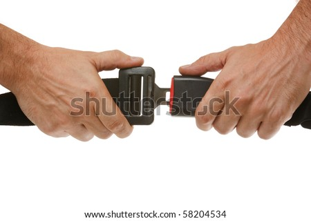 hands button safety belt  isolated on a white background
