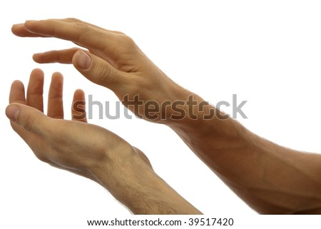 Hands clapping. Isolated on white background