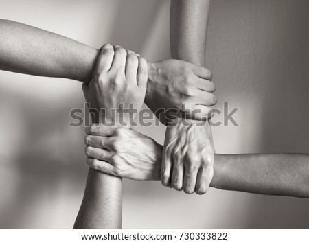 Hands coming together. in Unity there is strength.  #730333822