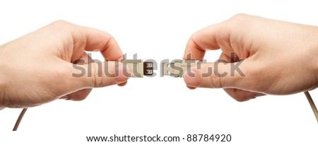 Hands connecting usb cable, isolated.