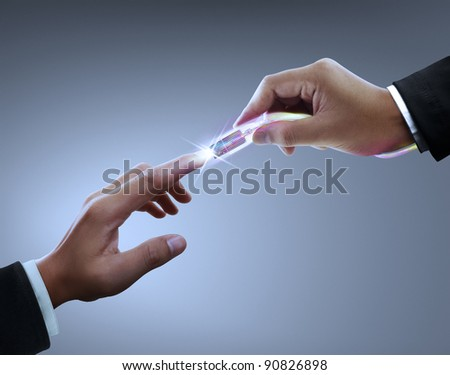 Hands, connectors - stock photo