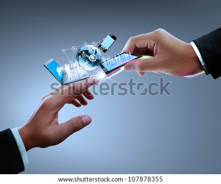 Hands, connectors with the technology