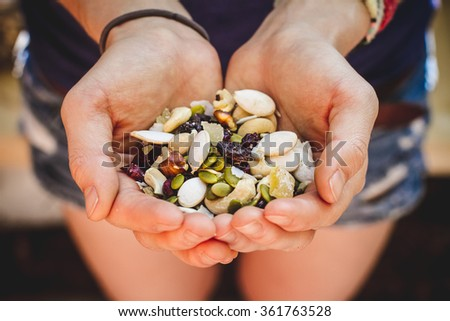 Hands Cupping Homemade Trail Mix