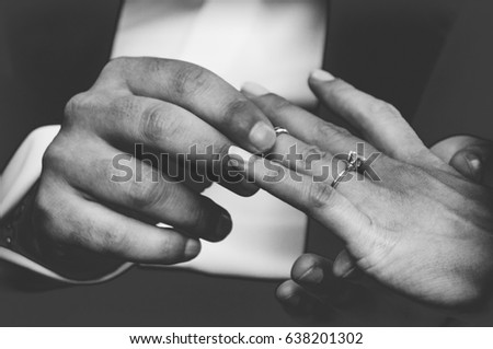 Hands Detail With Wedding Rings Exchange During A Wedding Ez Canvas