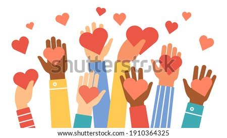Hands donate hearts. Charity, volunteer and community help symbol with hand gives heart. People share love. Valentines day  concept. Give sign red heart in hand illustration