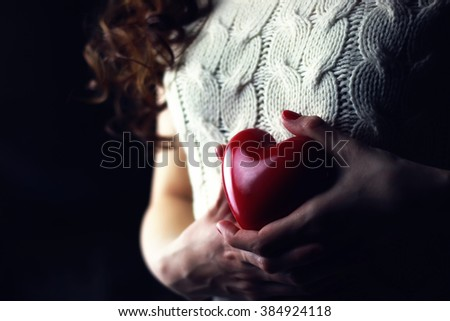 Hands female heart breast love #384924118