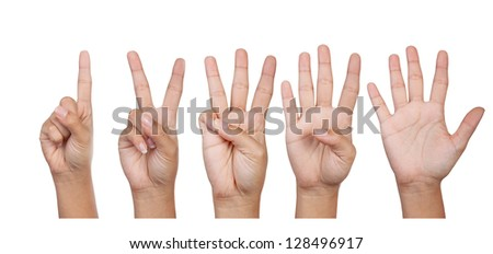 Hands, fingers and numbers. On a white background. Isolated