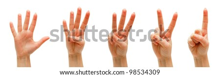Hands, fingers and numbers. On a white background. Isolated.
