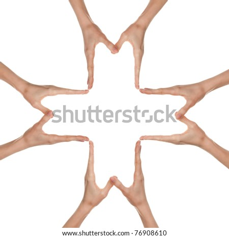 Hands forming a big medical cross symbol, isolated on white