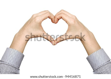 hands forming a heart on white background