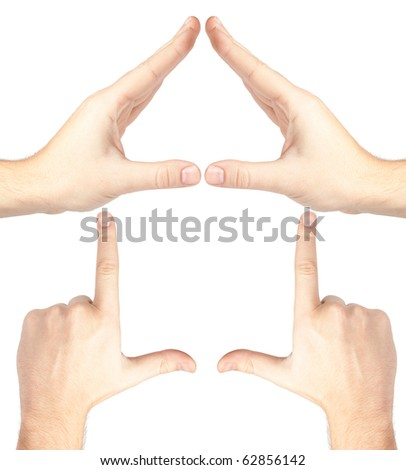 Hands forming a house on white background