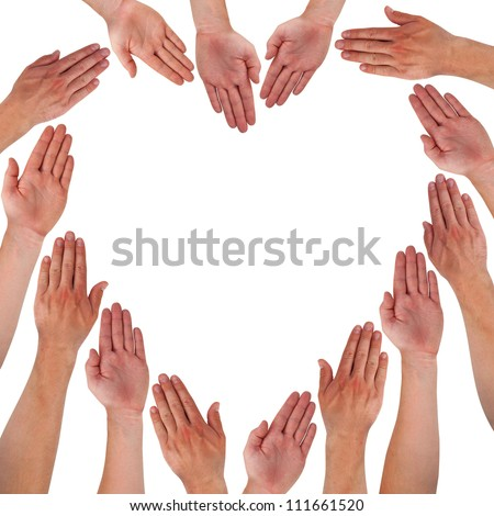 Hands forming heart isolated on white