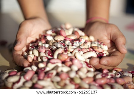 Hands full of beans (selective focus)