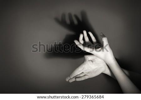 Hands gesture like deer on gray background #279365684