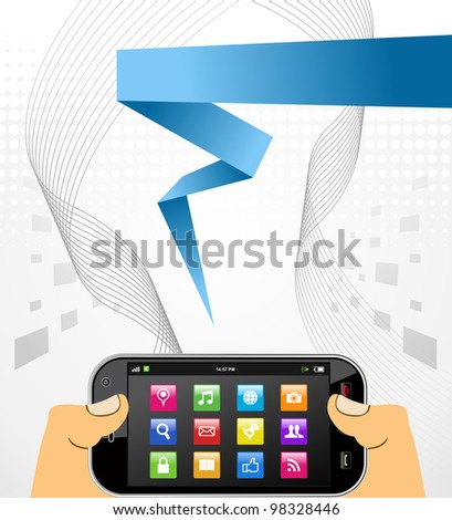 Hands hold a smart phone in horizontal position over white background.