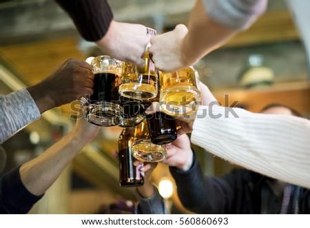 Hands Hold Beverage Beers Bottle Cheers #560860693