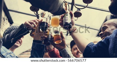 Hands Hold Beverage Beers Bottle Cheers #566706577