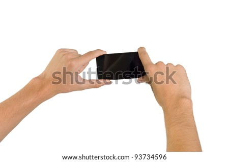 Hands holding a cell phone camera isolated on white